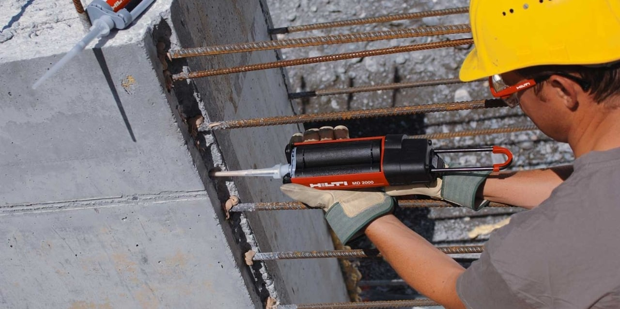 Hilti rigid rebar connection with straight bars